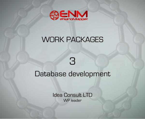 eNanoMapper Work Package 3 – Database development and implementation